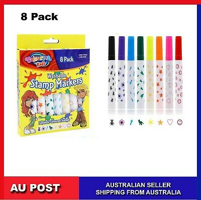 8pk  Stamp Markers Non-Toxic Fantastic Coloured Stamps Marker Pen Kids Washable
