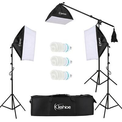 Photography Studio 3x65W Softbox Lighting Stand Photo Video Light Boom Arm Kit K