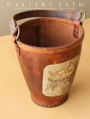 Wow! Superb 19Th Century English Leather Fire Bucket! Vtg Antique Home Decor