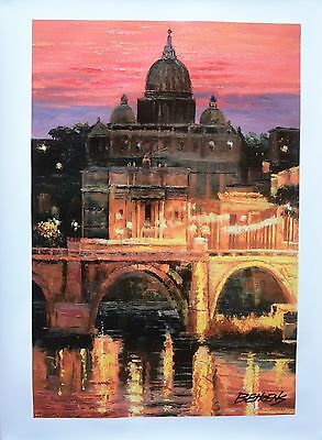 """Howard Behrens Hand Embellished Canvas """"Sunset Over St. Peter's"""" Vatican, Italy"""