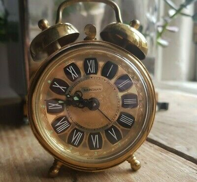 Vintage West German Alarm Clocks & Bells, Marksman Working gold colour filigree