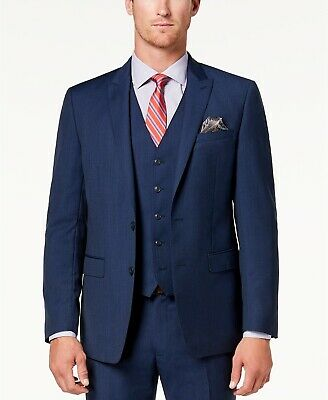 $695 Tallia Men's 40R Blue Wool Slim-Fit 2-Button Suit Jacket Blazer Sport Coat