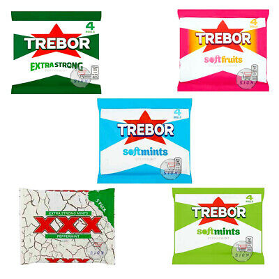 TREBOR PEPPERMINT, XXX, EXTRA STRONG, SOFTFRUITS, SPEARMINT 6 x 4 ROLLS PACK UK