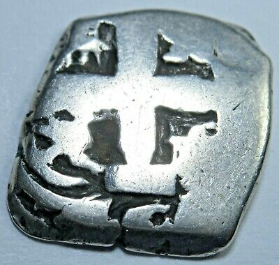 1758 Spanish Silver 1 Reales Piece of 8 Real Colonial Cob Pirate Treasure Coin