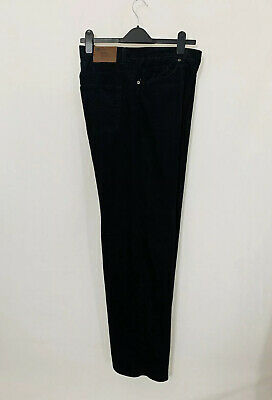 Marks & Spencer Mens Cord Trousers 42W 31L Black Corduroy OR295