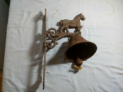 Large Rustic Antique Cast Iron Wall Mounted Door Hanging House Bell 11159