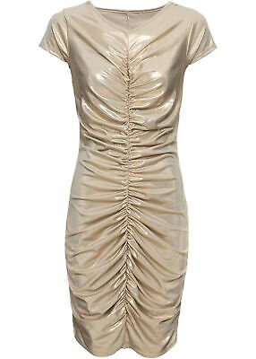Kleid mit Metallic-Print Gr. 44/46 Gold Damen-Mini-Abend-Party-Cocktailkleid Neu