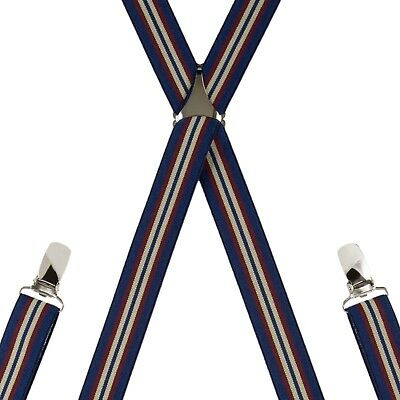 Children's Navy Stripe Trouser Braces Elastic Suspenders Handmade in England