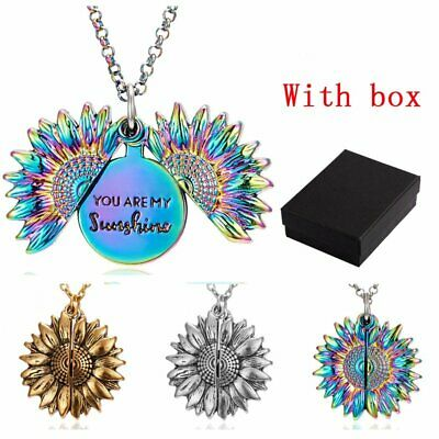 You Are My Sunshine Engraved Sunflower Pendant Necklace With Box Fashion Jewelry