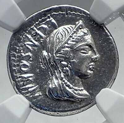 Roman Republic Authentic Ancient 82BC Silver Roman Coin VENUS CHARIOT NGC i81441