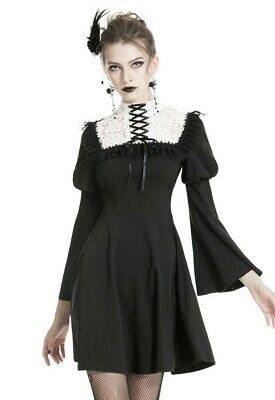 Dark in Love Gothic Lolita black white dress bubble sleeves lace collar DW328