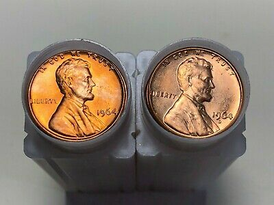 1964 P D Lincoln Memorial Cent Penny Rolls BU Uncirculated 2 Rolls 100 Coins