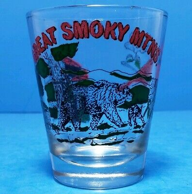 Great Smoky Mountains Vintage Shot Glass 1970s Cardinal Bear Mill Scenes