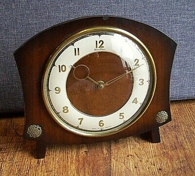 Mid Century Bentima Oak Framed Mantel Clock with Brass Finials -Winding Movement