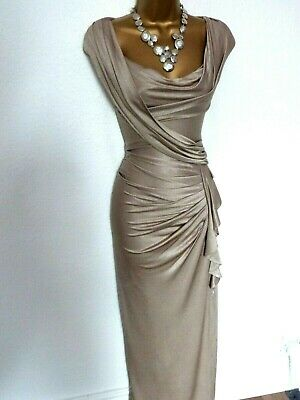 Phase Eight Grecian Style Gold  Evening  Dress  size 16 long