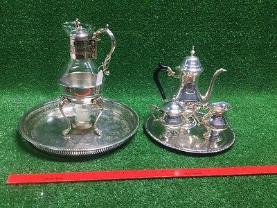 Lot Of Silver Plate Tea Coffee Creamer Sugar Set 2 Trays Carafe Glass Fb Rogers