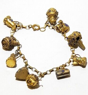 Antique Brass Enamel CHINESE EXPORT Vintage Charm Bracelet