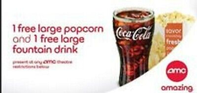 AMC Theaters 1 Large Drink and 1 Large Popcorn ( expires 06/30/2020 )
