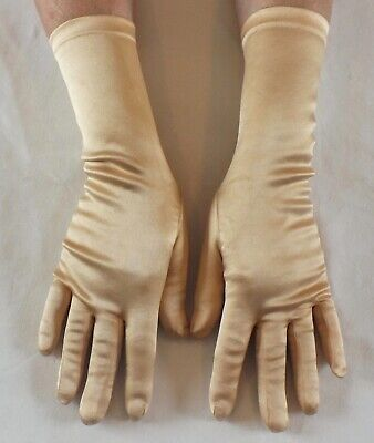 VINTAGE Stretch Satin Bracelet Length Gloves  APRICOT UK 6.5 - 7