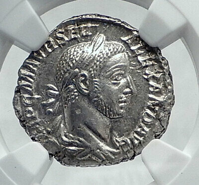 SEVERUS ALEXANDER Authentic Ancient 222AD Silver Roman Coin ANNONA NGC MS i81447