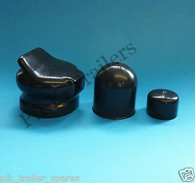 BLACK Towball Cover with 7 Pin Plug & Socket Cover for Trailer towing