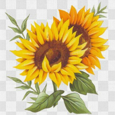 Handpainted Needlepoint Canvas - Stitch Guide - Sunflowers Yellow Orange 18 mesh