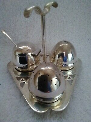Vintage Silver Plated Cruet Set. Salt & Pepper Shakers Mustard Pot With Spoon