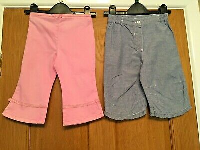 2 Pink & Blue Cropped Capri Jeans 2-3 Years Girls VGC Cotton Next Mothercare