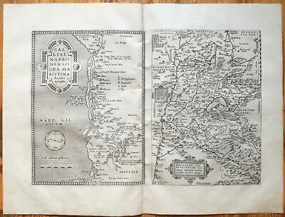 ORTELIUS Original Map France Arles Narbonne Grenoble Geneve Torino - 1573