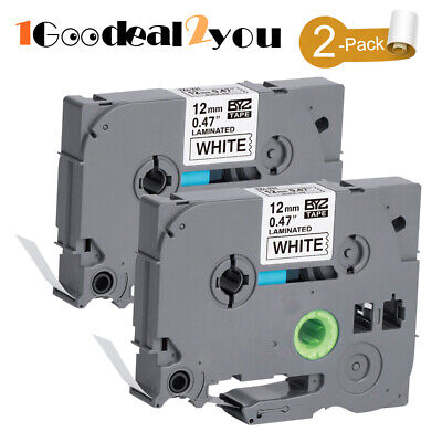 2 Pack  Compatible Brother P-Touch Black on White Label Tape Maker for TZe-231