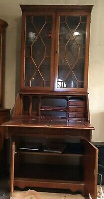 Regency drop front secretary desk and breakfront library bookcase