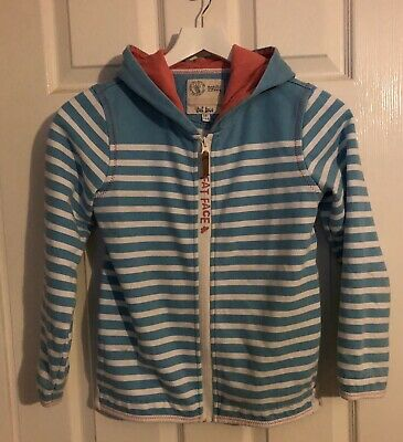 Fat Face Girls Age 10-11 Years Blue White Striped Zip Hoodie Pink