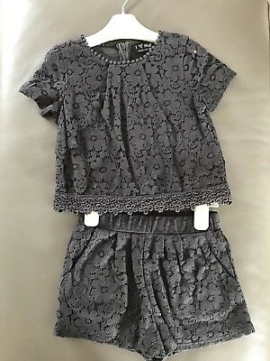 Next Girls Grey Lace Top & Shorts Xmas Party Outfit, Age 4 *Worn Once* RRP £22
