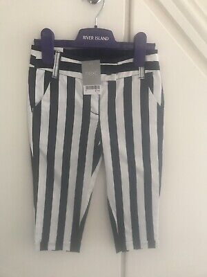 BNWT Girls Next Navy & White Stripe Crop 3/4 Trousers, Age 6 *RRP £14*