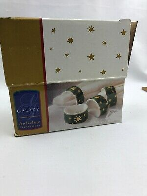 4- Galaxy Holiday Dinnerware Green Star Napkin Rings 14k Gold Accents IOB
