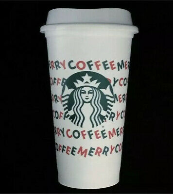 Starbucks 2019 XMas Merry Coffee White Reusable 16oz Holiday Cup & Lid W/ Sleeve