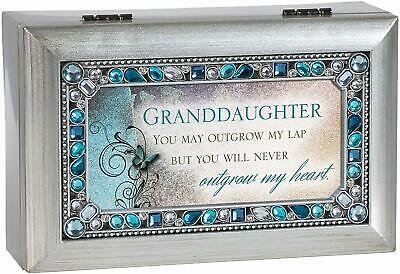 Cottage Garden Granddaughter Jeweled Silver Finish Jewelry Music Box - Plays Tun