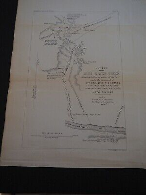 """Antique Map """"Sketch of the Blue Water Creek embracing the field of action of..."""""""