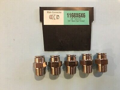 "Weatherhead 1168X6X6 3/8"" Tube X 3/8"" Npt Straight Push To Connect Lot 5"
