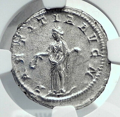 GORDIAN III Authentic Ancient 241AD Rome Silver Roman Coin LAETITIA NGC i81455