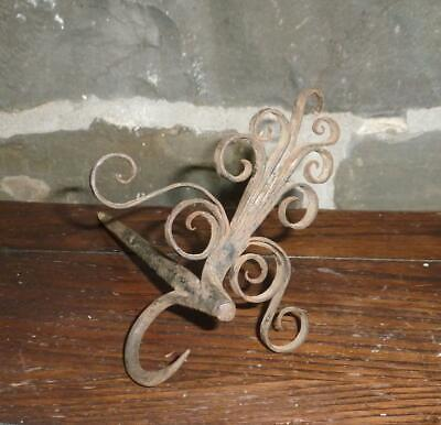 THE BEST 18th C Antique Wrought Iron Colonial American Betty Lamp Lighting Spike