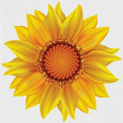Handpainted Needlepoint Canvas - Stitch Guide - Abstract Sunflower Yellow Orange