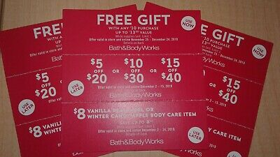 Lot Of 9 Bath and Body Works Coupons Gift Bonus $5 off Gift Black Friday