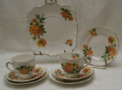11 Piece Royal Standard ROMANY ROSE Yellow Cup Saucer Bread & Cake Plate England