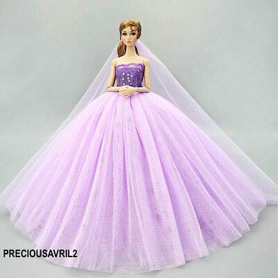 New Barbie doll clothes outfit princess wedding dress veil gown purple sequin