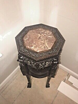 RARE Antique Oriental Rosewood? Heavily Carved Plant Stand Marble Top Heavy