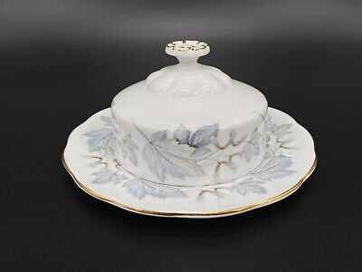 Royal Albert Silver Maple Butter Dish with Lid Bone China England