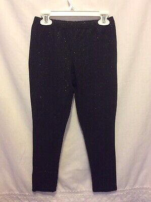 Faded Glory Girl's Solid Black Glittery Leggings Size 10-12 Very Good Shape
