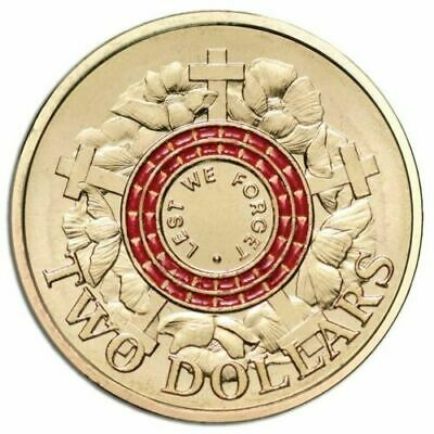 2015  Red $2 Dollar Coin ** Uncirculated ** Lest We Forget Anzac Day