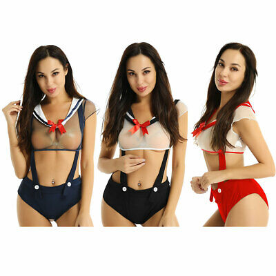 Sexy Womens School Girl Outfit Japanese Sailor Crops Tops Suspender Costume Set